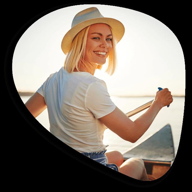 Woman Canoeing Organic Shape